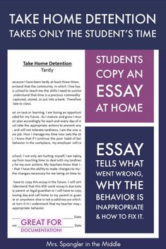 Even though teachers work hard to make their classrooms a positive place, there are occasions when detention is a necessary consequence for inappropriate behavior. To keep the onus where it belongs (on the student), use these compositions to help reteach students how to properly behave! #assignments #ideas Classroom Consequences, Classroom Behavior Management, Classroom Procedures, Classroom Ideas, Teacher Tools, Teacher Resources, Teacher Stuff, Public School, Classroom Control