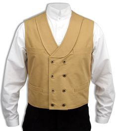 Canvas Double Breasted Vest - Wheat [002407]
