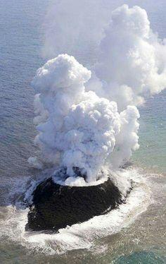 Volcanic island forming off coast of Japan.