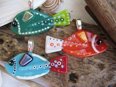 SURPRISE Hand painted Fused glass FISH pendant  in RANDOM Color Limited Production 023. $24.00, via Etsy.