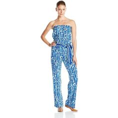 Lilly Pulitzer Women's Tia Strapless Jumpsuit ($188) ❤ liked on Polyvore featuring jumpsuits, blue jump suit, lilly pulitzer, blue jumpsuit, jumpsuits & rompers and jump suit
