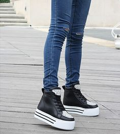 Womens #black leather lace up #platform shoe rhinestone ornament, round toe, leather upper.