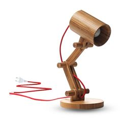 {Bamboo Desk Lamp} by GeekCook - love the oversized movable joints + red cord!