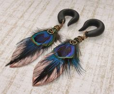 Copper+Peacock+Feather+Gauges+by+TheCreatorsCreations+on+Etsy,+$37.00