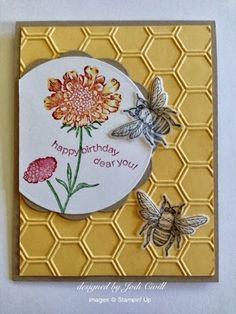 something about stamping: Busy as a bee, Stampin' Up card, Backyard Basics, Field Flowers, Happiest Birthday Wishes, Honeycomb Embossing Folder