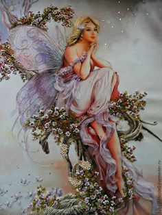 Unicorn And Fairies, Flower Fairies, Angels And Fairies, Angel Pictures, Art Pictures, Happy Birthday Fairy, Greek Paintings, Fairy Glen, Realistic Oil Painting