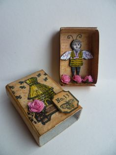 Altered matchbox with little bee girl bee fairy stamps by Clearly Constructed.
