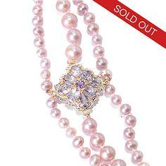 "141-650 - Gems en Vogue 30"" Blush 4-8mm Freshwater Cultured Pearl & Amethyst Necklace"