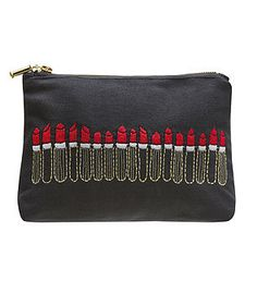 Embroidered Lipstick Pouch Noir