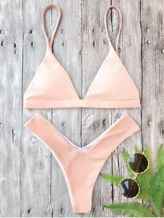 Plunge Padded Textured High Cut Bikini Set - PINK M