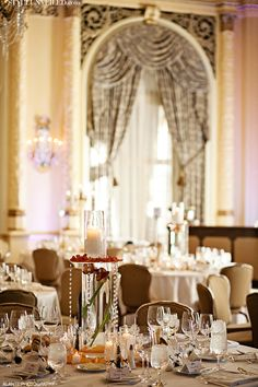 Style Unveiled - Style Unveiled | A Wedding Blog - Wedding Table Showcasing Candelabras Simple Elegant Centerpieces, Low Centerpieces, Table Decorations, Wedding Table, Wedding Blog, Ballroom Wedding, Place Settings, Candelabra, Tablescapes