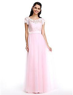 LAN TING BRIDE Bridesmaid Dress - Sheath / Column Scoop Floor-length Lace/Tulle – AUD $ 407.55
