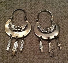 0f07698b5 Mexican Silver Hoops with 3 Fishes Dangles Earrings $65.00 Silver Hoops, Sterling  Silver Earrings,