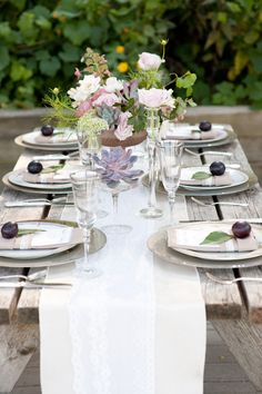 Plums with the table settings?