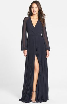 Badgley Mischka Pleated Wrap Gown