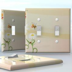 DIY Do It Yourself Home Decor - Easy to apply wall plate wraps | Beezing Day Daises with ladybugs and bees wallplate skin sticker for 2 Gang Toggle LightSwitch | On SALE now only $4.95