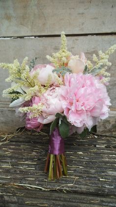 peony and astilbe bouquet with grey senecio