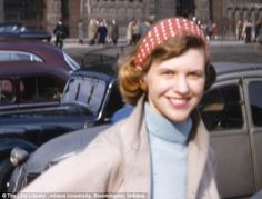 Golden girl: Sylvia is photographed in Europe by an unknown cameraman around March/April 1956