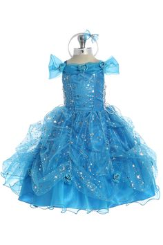 Turquoise Princess Organza Flower Girl Dress T5427 T5457-TQ $64.95 on www.GirlsDressLine.Com