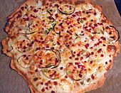 Schneller Flammkuchen Dough was perfect. I used creme fraiche and caramelised the onions with a tiny bit brown sugar+white wine vinegar. White Wine Vinegar, Creme Fraiche, Vegetable Pizza, Brown Sugar, Quiche, Caramel, Favorite Recipes, Cheese, Breakfast