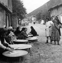 Bulgaria Photograph - Berkovitsa Bulgaria - Women Making Bread In The Streets - C 1911 by International Images Mein Land, My Heritage, How To Make Bread, Photo Archive, Old Photos, Photo Library, Nostalgia, The Past, Black And White