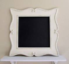 Kitchen CHALKBOARD Curvy Whimsical Picture Frame MAGNETIC Chalk Board Black Board French Country Ivory Home Decor Gift for Mom Gift for Her. $159.00, via Etsy.