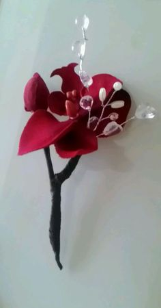 ..NEW RED ORCHID CRYSTAL BUTTONHOLE.WEDDING PARTY.GROOM.GUEST.MOTHER.FATHER.PROM in Home, Furniture & DIY, Wedding Supplies, Flowers, Petals & Garlands | eBay