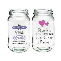 Imagen relacionada Money Jars, Cute Water Bottles, Little Presents, Candle Containers, Container Design, Mocca, Bottle Painting, Pink And Gold, Hand Lettering