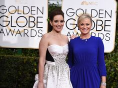 Tina Fey, left, and Amy Poehler arrive at the 72nd annual Golden Globe Awards at the Beverly Hilton Hotel on Jan. 11. Led by Fey and Poehler, the Globes have been on a terrific upswing in recent years.  #ZooSeo