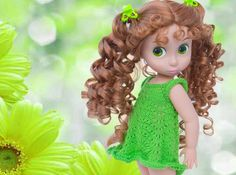 Green Crayon Dress for 16 inch Disney Animators Dolls Summer Lace  Doll Clothes Knitting Pattern Easy PDF