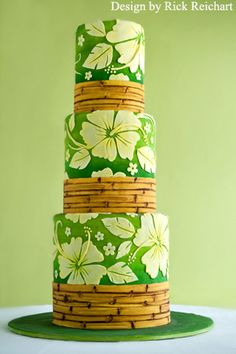 "Hibiscus and bamboo wedding cake. Designed for Rick's ""Discover Your Inner Artist 1"" class."