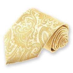 $7 Men's Soft Yellow Clara Paisley Tie | SolidColorNeckties.com