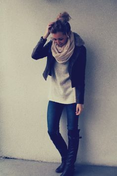 Leather jacket, chunky scarf, jeans & tall boots
