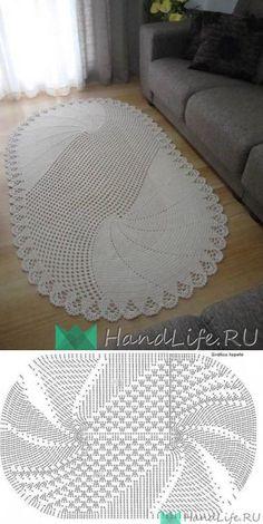 A Beaut Oval Rug [Free Crochet Pattern and Video Tutorial] Crochet Doily Rug, Crochet Carpet, Crochet Mandala Pattern, Crochet Tablecloth, Crochet Stitches Patterns, Crochet Designs, Knitting Patterns, Diy Crafts Crochet, Crochet Home