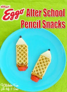 Kitchen Fun With My 3 Sons: Eggo Waffle After School Pencil Snack