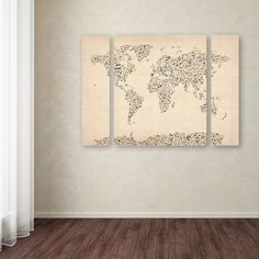 Wrought Studio 'Music Note World Map' 3 Piece Graphic Art on Wrapped Canvas Set | Wayfair 3 Piece Canvas Art, Canvas Wall Art, Canvas Prints, Old Sheet Music, World Map Canvas, Artist Canvas, Art Reproductions, Art Music, Wrapped Canvas
