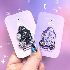 💜WHICH COLOUR DO YOU PREFER?💜New Grave HERE LIES ALL THE FUCKS I GIVE pin in my kickstarter now 💜it goes without saying that I love colour - and don't ask me to pick a fave 🙈it changes constantly - right now I've got all the feels for lilac 💜 but I've also got a gothic side and I love black 🖤 just as Dolly says 'you can't have Rainbow's without rain' the bright palettes can't exist without the dark ones 🖤and how I love them too! Basically I just love designing using the entire rainbow… Kawaii Halloween, Cute Halloween, Halloween Themes, Liz And Liz, The Dark One, All The Feels, Love Design, Then And Now, Just Love