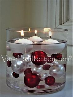 120 No Hole Red & White Pearls w/ Gems Accents-Jumbo/Assorted Sizes Vase Decorations and Table Scatters The red pearls and white gems float in clear water gels for awe inspiring centerpieces. Great for weddings, birthday parties, graduations and more! Christmas Table Centerpieces, Candle Centerpieces, Vases Decor, Xmas Decorations, Wedding Decorations, Christmas Balls, Christmas Home, Christmas Wreaths, Christmas Crafts