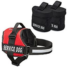 Service Dog Harness With Detachable Backpacks & Patches, and Handle | Available In 7 Sizes From Small to Extra Large | Vest Features Reflective Patch and Comfortable Mesh Design From Industrial Puppy