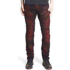 Men's Prps 'Demon' Slim Straight Leg Jeans ($350) ❤ liked on Polyvore featuring men's fashion, men's clothing, men's jeans, red panda, mens jeans, mens red jeans, mens denim jeans, mens slim jeans and mens straight leg jeans