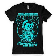 Create an elementary school t-shirt design that includes an astronaut by ABP78