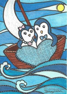 Original ACEO NFAC valientine blue penguin sailboat sun heart ocen by Jenny Luan