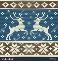 Cute knitting background with two reindeers and snowflakes - stock vector Fair Isle Knitting Patterns, Knitting Charts, Knitting Stitches, Knitting Designs, Knitting Projects, Christmas Charts, Fair Isle Chart, Stitch Patterns, Crochet Patterns