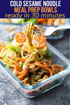 These cold sesame noodle meal prep bowls are the perfect vegan prep ahead lunch: spiralized vegetables tossed with chickpeas and whole wheat spaghetti in a spicy almond butter sauce. Budget Meal Prep, Easy Meal Prep, Easy Meals, Whole Wheat Spaghetti, Whole Wheat Pasta, Vegan Meal Prep, Meal Prep Bowls, Vegan Meals, Cold Sesame Noodles