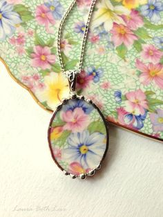 Broken china jewelry oval pendant necklace Royal Wintion Marion chintz pastel floral