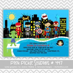 Superhero Pool Party 447  Personalized by PinkPickleParties, $10.00