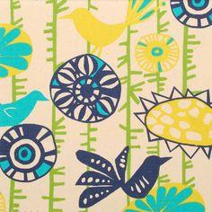 Cotton Fabric Upholstery Fabric Bird Fabric Novelty by RoomKandi