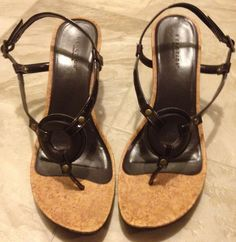 Kenneth Cole Reaction Strappy Chocolate patent leather Wedges