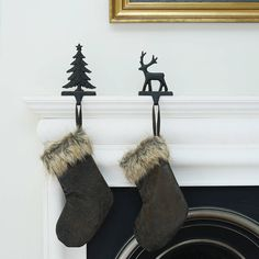 Faux Fur And Leather Christmas Stocking