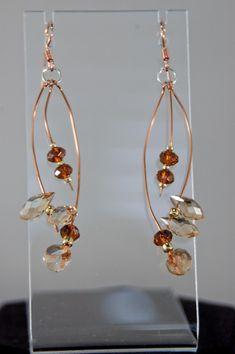 Rust Crystal Dangle Earrings on Dark Copper Wire #jewelrymaking